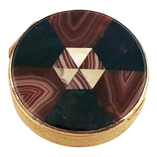 Antique Round Hinged Plaid Victorian Scottish Inlaid Agate Carnelian Snuff Box For Sale