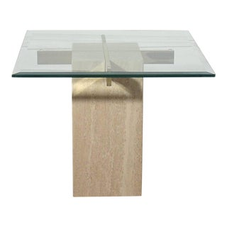 70's Italian Travertine and Brass Side Table by Artedi For Sale
