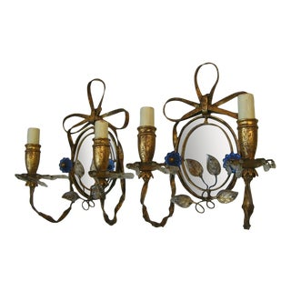 C1940's Hollywood Regency Attribution to Maison Bagues Gilt Tole With Crystal Mirror Back Wall Sconces - a Pair For Sale