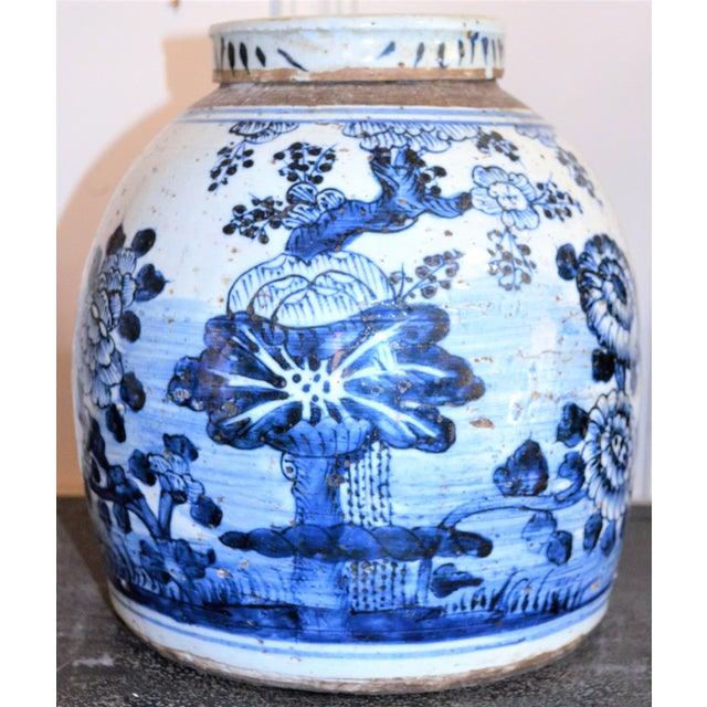 Chinoiserie White & Blue Floral Ginger Jar For Sale - Image 4 of 7