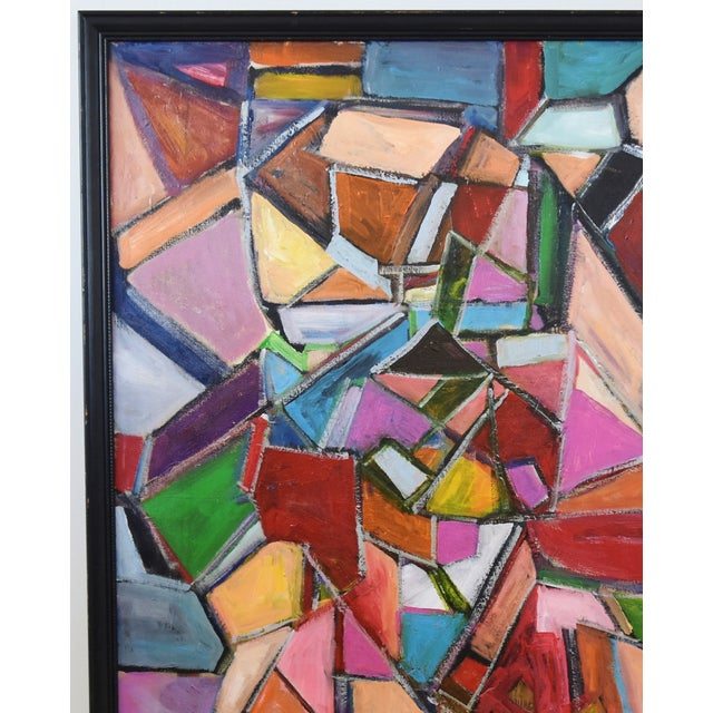 Mid 20th Century Juan Pepe Guzman Colorful Abstract Oil Painting For Sale - Image 5 of 9