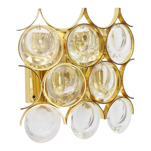 Palwa Single Wall Sconce, Gilded Brass and Crystal Glass 1960s For Sale