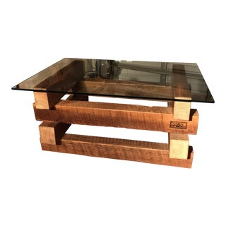 4 x 4 Wood Base Coffee Table For Sale