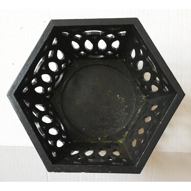 English Fretwork Octagonal Ebonized Wood Cachepot - Image 4 of 6