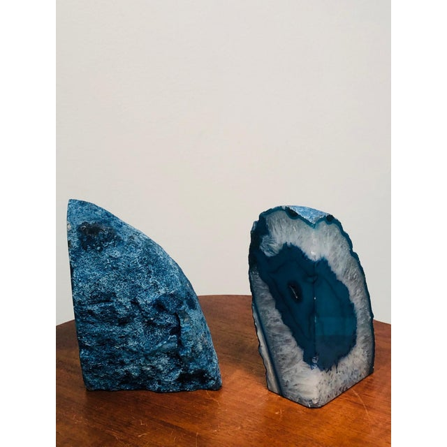 Mid 20th Century Petrified Wood Book Ends in Sky Blue For Sale - Image 9 of 10
