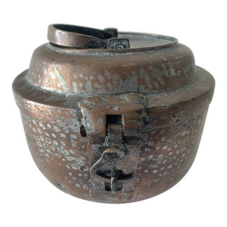 Hand Forged Hammered Copper Latched Pot For Sale