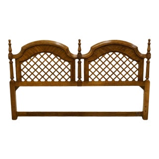 Vintage Stanley Furniture Italian Fruitwood Lattice King Headboard For Sale