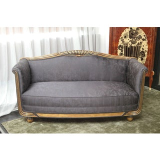 1940s Vintage Carved Art Deco Small Sofa Preview