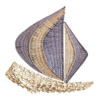 Fun Vintage Sculptural Lavender & Natural Rope Sailboat Wall Hanging Art 1970's For Sale