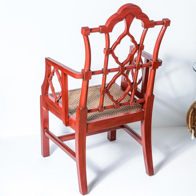Asian Chinese Red Lacquered Chippendale Style Gothic Chairs With Cane Seats, A-Pair For Sale - Image 3 of 13