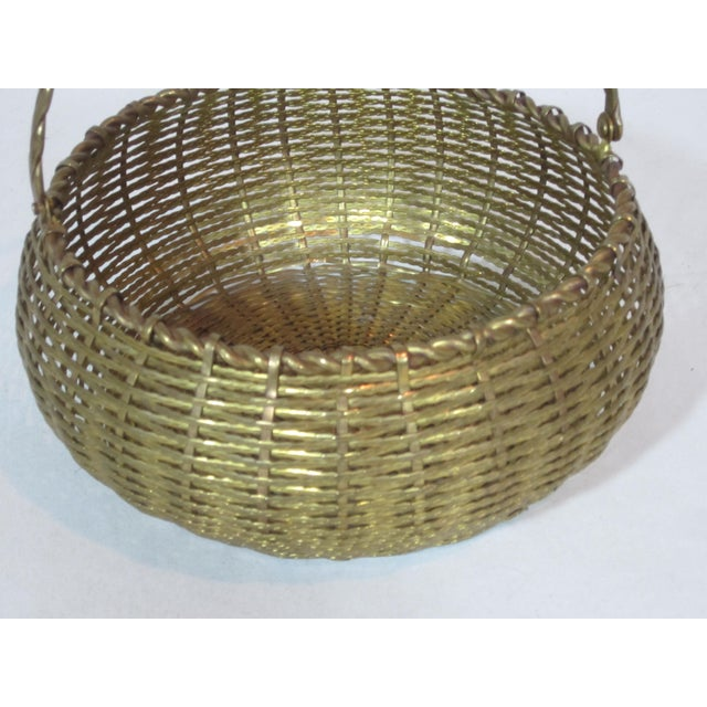 Vintage Round Woven Brass Basket For Sale - Image 4 of 7