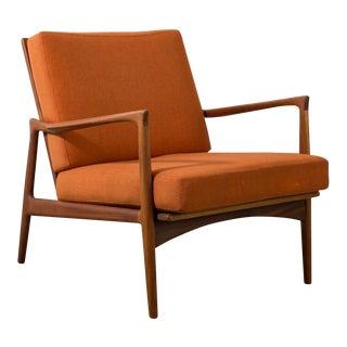 20th Century Danish Modern Ib Kofod Larsen Orange Upholstered Teak Lounge Chair