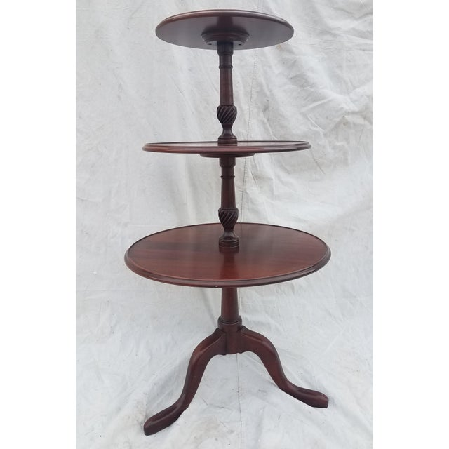 Wood 1990s Hickory Chair Co. 3 Tiered Mahogany Dumbwaiter/Butler Table Stand For Sale - Image 7 of 11