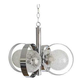 Mid-Century Modern Chrome Globe Chandelier in the Style of Gaetano Sciolari For Sale