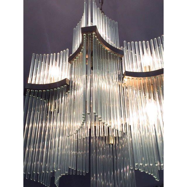 Lightolier Brass & Glass Sciolari Chandelier - Image 4 of 5