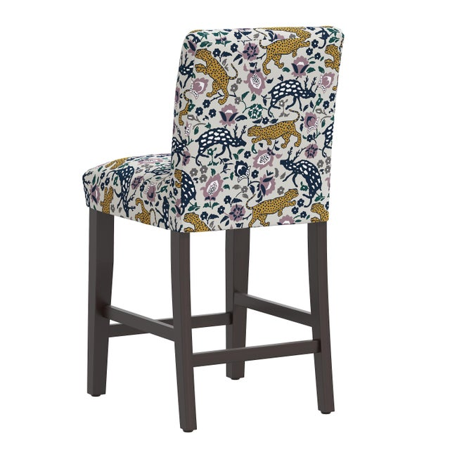 Leopard Mustard Plum Fabric Counter Stool For Sale - Image 4 of 8