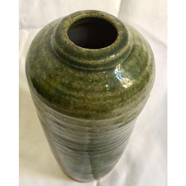 Vintage Hand Thrown Pottery Vase, Green - Image 7 of 9