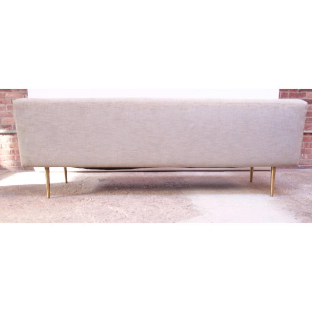 1950s Edward Wormley for Dunbar Sofa With Brass Feet For Sale - Image 5 of 13