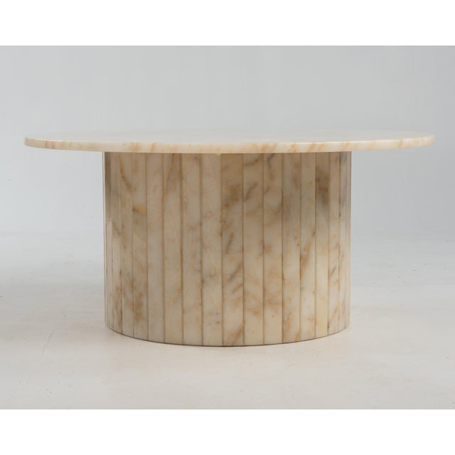 1970s Hollywood Regency Round Alabaster Coffee Table on a Drum Base For Sale - Image 5 of 13