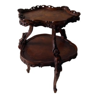 Vintage Carved Art Nouveau Style Tea Table For Sale