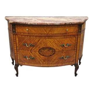 20th Century French Louis XV Style Demi-lune Pink Marble Top Bombe Commode Chest For Sale
