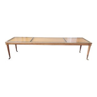 Vintage Mid Century Leather Inlay Rolling Coffee Table with Brass Casters For Sale