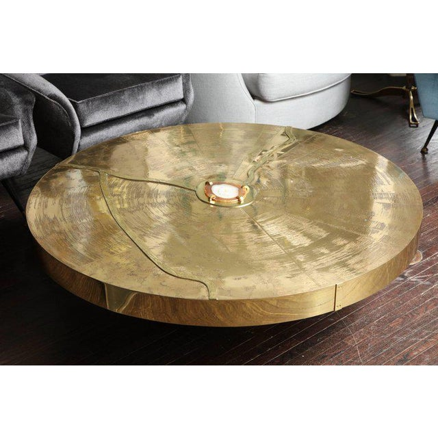 Spectacular round etched brass cocktail table with agate stone.