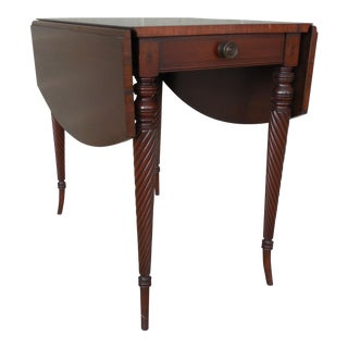 COLONIAL Furniture Mahogany 1 Drawer Drop Side Entry/Hall Occasional Table For Sale