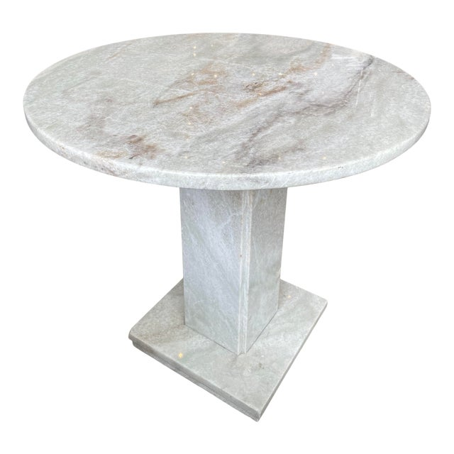 Neoclassical Circular Marble Side Table For Sale