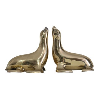 Solid Brass Seal Bookends - A Pair
