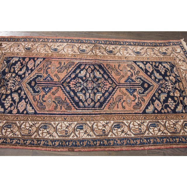 Antique Hand-knotted Hamadan with a geometric design. This piece has magnificent detailing and would be perfect for any...