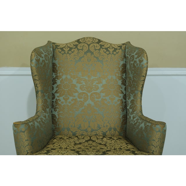 Rococo Kittinger Chippendale Mahogany Wing Back Chair For Sale - Image 3 of 13
