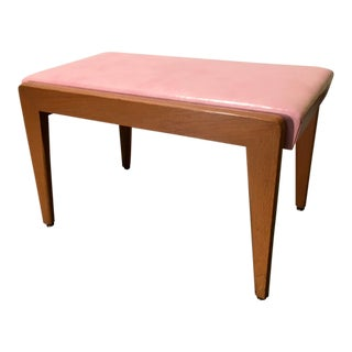 Large Mid-Century Pink Upholstered Wood Bench Stool For Sale