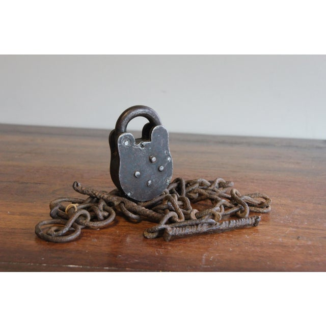 Iron Vintage Padlock & Chain Shackles For Sale - Image 7 of 11