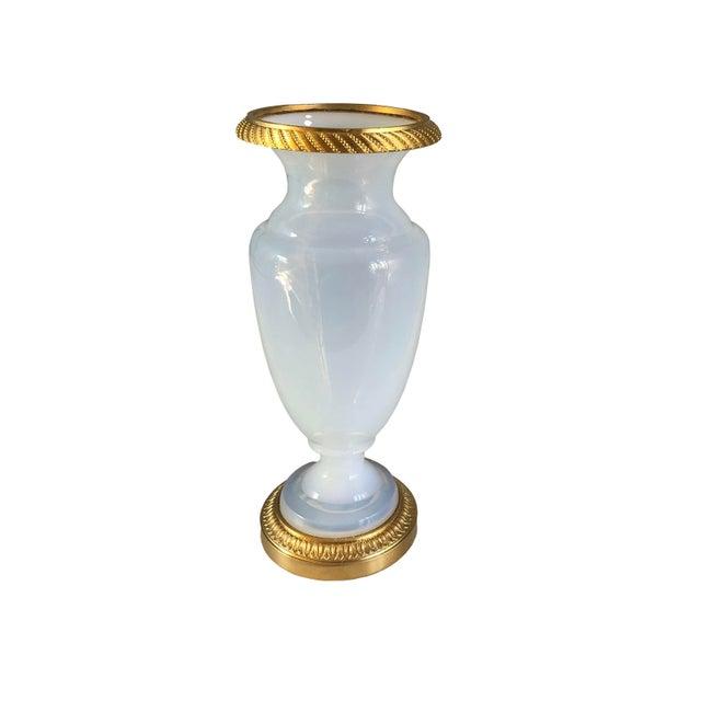 "Antique white opaline ""boulle de savon"" vase from France. Circa 1850."
