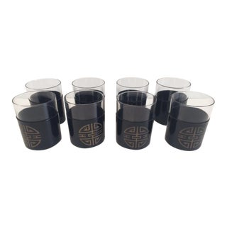Mid-Century Modern Chinoiserie Black Vinyl Detailed Rock Glasses - Set of 8 For Sale