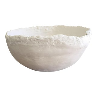 Modern White Raw Plaster Decorative Round Bowl For Sale