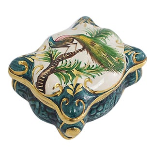 Belgian Porcelain Peacock Box For Sale