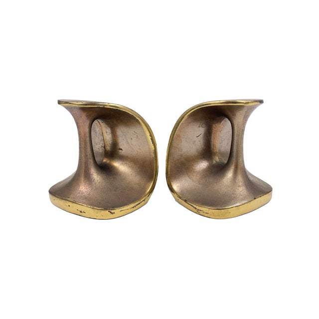 Metal Vintage Maison Gourmet Jenfredware by Ben Seibel Modernist Mid-Century Copper / Brass Patina Bookends - a Pair For Sale - Image 7 of 7