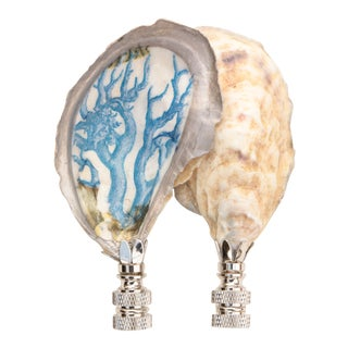 Blue Coral Oyster Shell Lamp Finials - a Pair For Sale