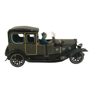 Late 20th Century Vintage Tin Lithograph Wind-Up Toy Car For Sale