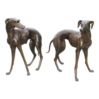 Vintage Bronze Greyhound Whippet Dog Statue Sculpture Figurine - A Pair For Sale