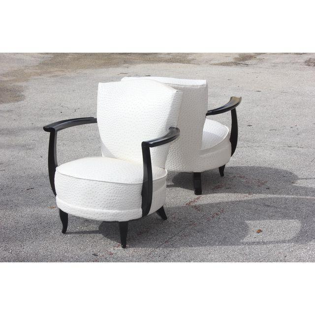 Beautiful Spectacular French Art Deco Curved Ebony Club Chairs With Ostrich Style  Textile Circa 1940s   Image
