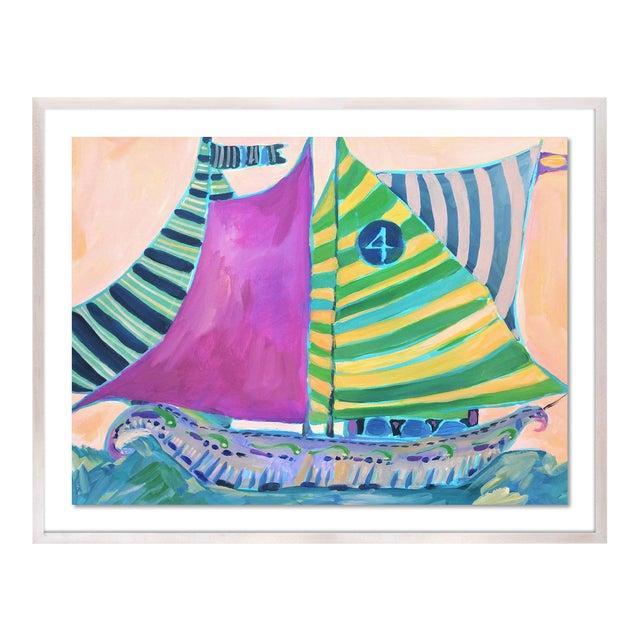 SB Staniel Cay by Lulu DK in White Wash Framed Paper - Medium Art Print For Sale
