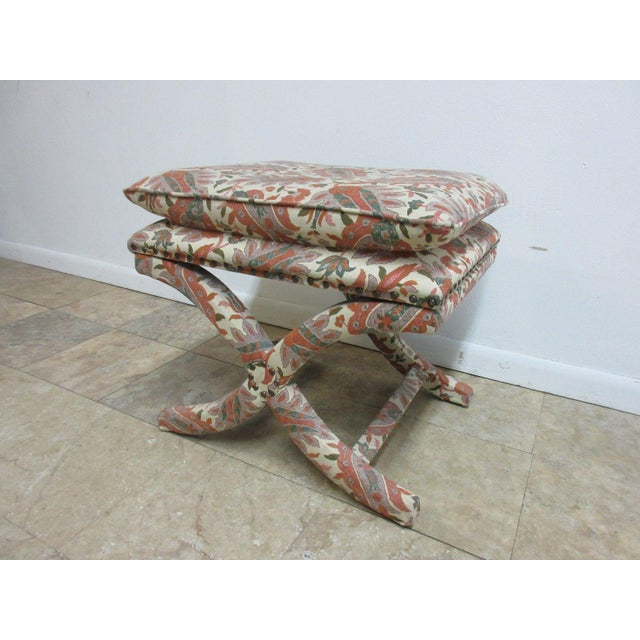 Boho Chic Custom Upholstered Ottoman Stool For Sale - Image 3 of 7