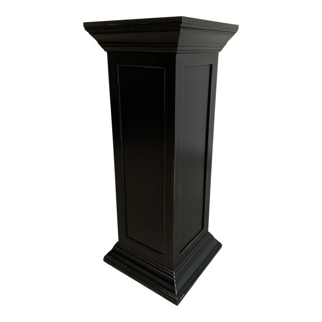 Vintage Squared Detailed Wood Rustic Black Plant Stand Column Pedestal With Widened Ends For Sale