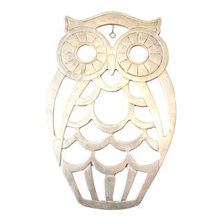 Vintage Metal Hangable Owl Trivet For Sale