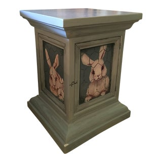 1990s Children's Painted Blue Bunny Detail End Table For Sale