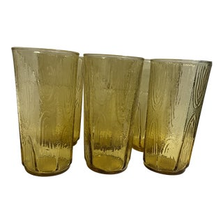 Vintage Presses Glass Yellow Bark Tumblers - Set of 6 For Sale