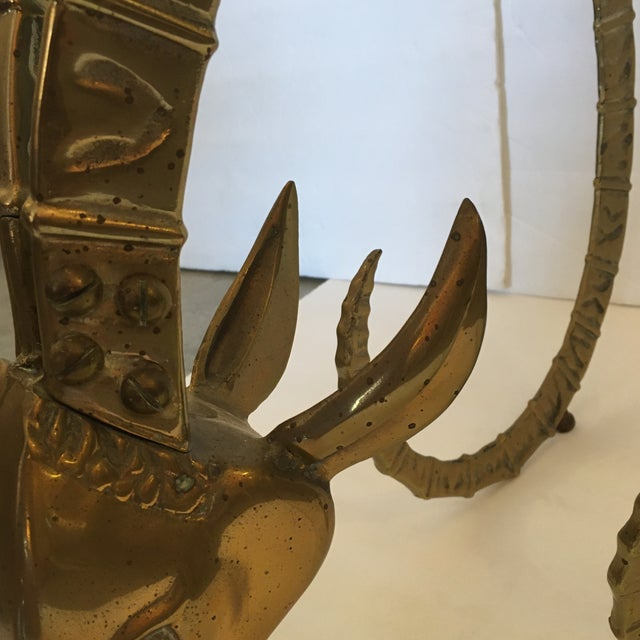 Vintage Brass Ibex Sculpture For Sale - Image 4 of 10